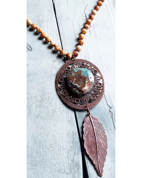 Jewelry Junkie Women's Picture Jasper Necklace  , Rust Copper, hi-res