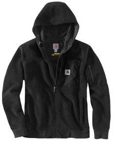 Carhartt Men's Black Yukon Extremes Wind Fighter Fleece Active Hooded Work Jacket - Tall, Black, hi-res