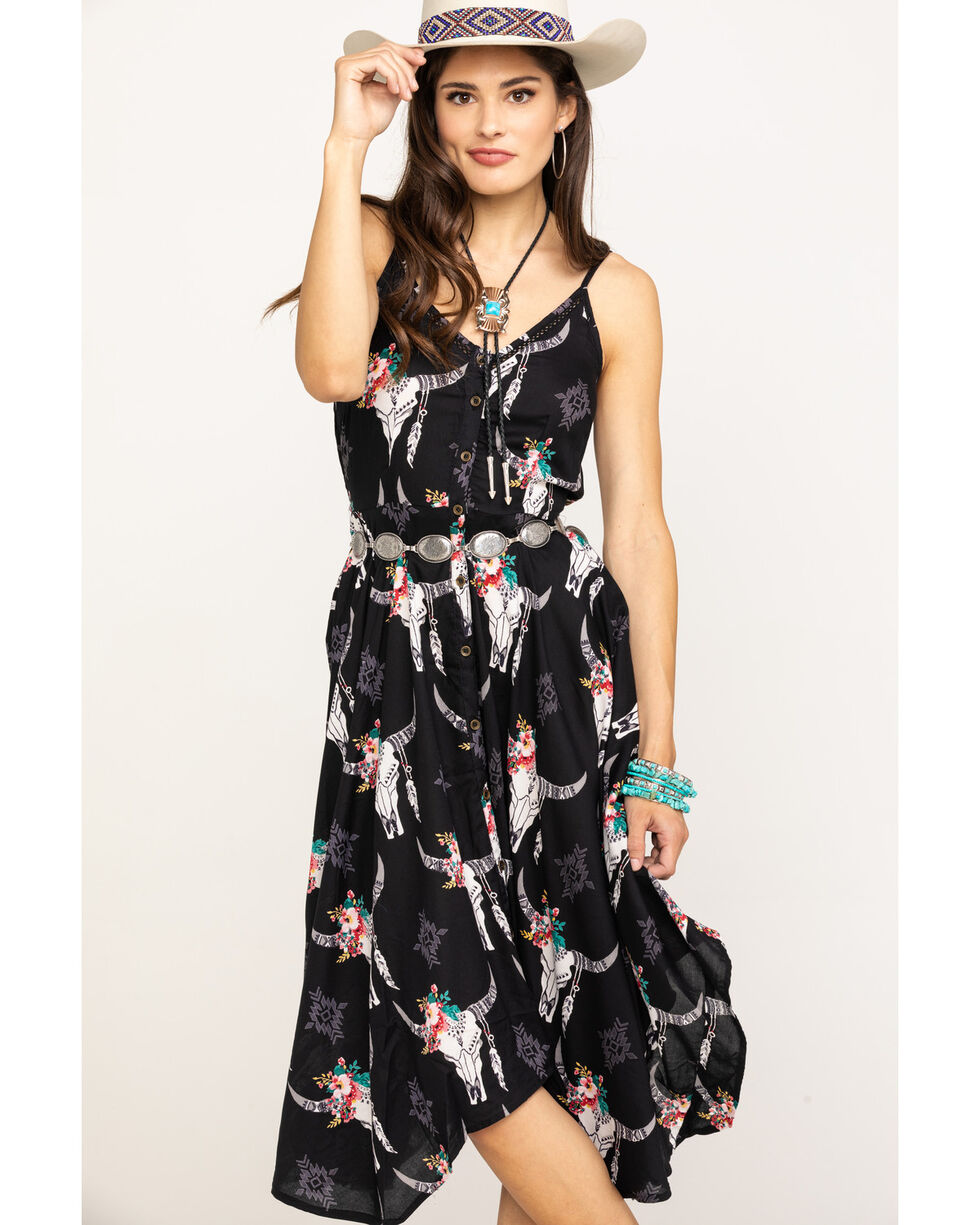 Angie Women's Steerhead & Roses Button Down Slip Dress, , hi-res