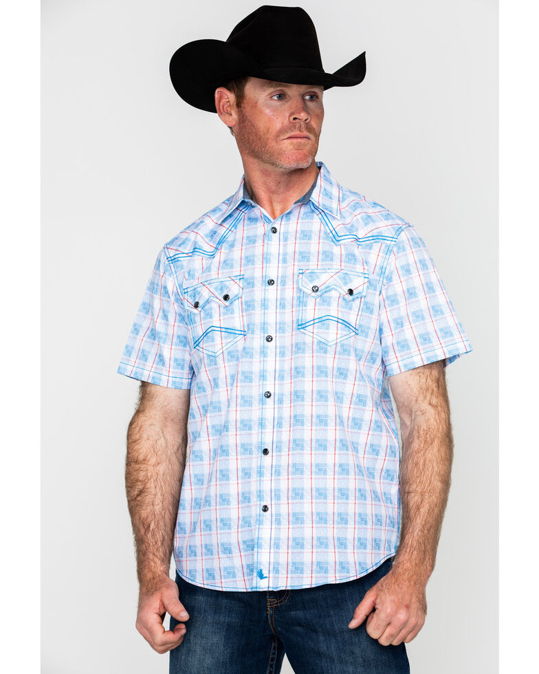 Cody James Men's Crooks Cross Plaid Short Sleeve Western Shirt , Turquoise, hi-res