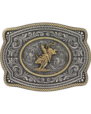 Montana Silversmiths Men's Silver Two Tone Bull Rider Belt Buckle , Silver, hi-res