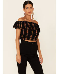 Elan Women's Black & Gold Aztec Lurex Off-Shoulder Short Sleeve Crop Top  , Black, hi-res