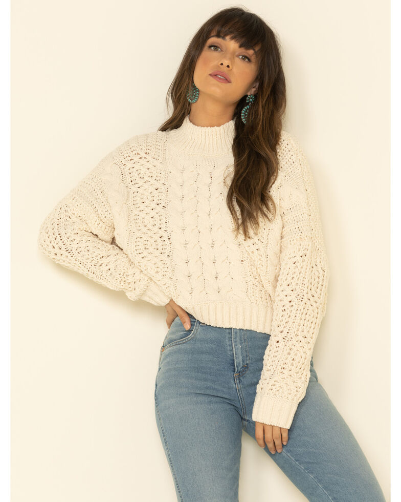 POL Women's Mock Neck Cable Knit Boxy Sweater, Ivory, hi-res