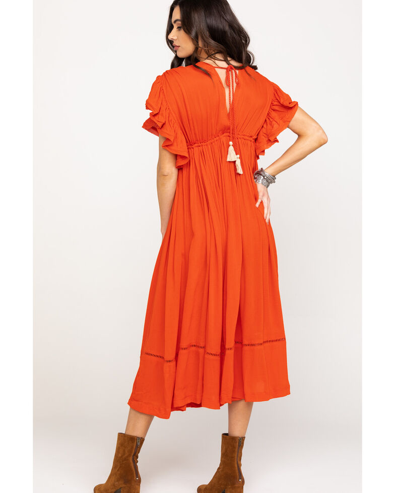 Free People Women's Will Wait For You Midi Dress, Red, hi-res