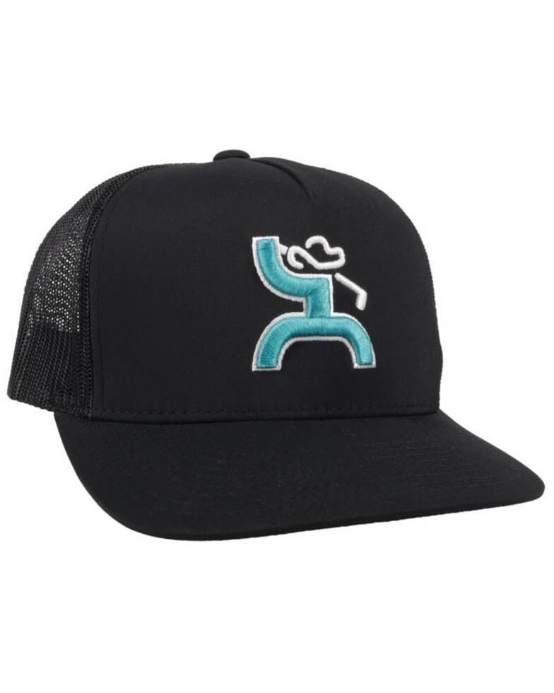 HOOey Men's Black Golf Logo Mesh Ball Cap , Black, hi-res