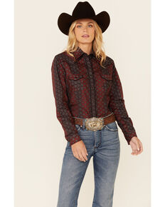 Rock & Roll Denim Women's Burgundy Diamond Geo Print Long Sleeve Snap Western Shirt , Burgundy, hi-res