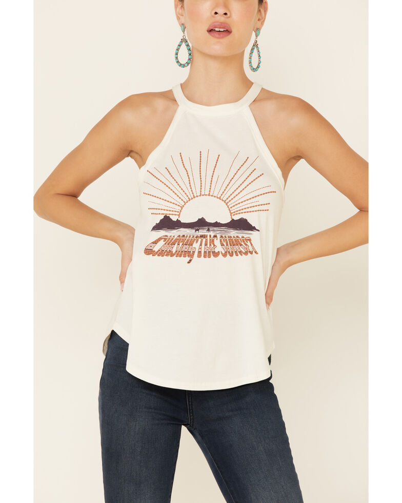 Shyanne Life Women's Ivory Chasing The Sunset Graphic Tank Top, Ivory, hi-res