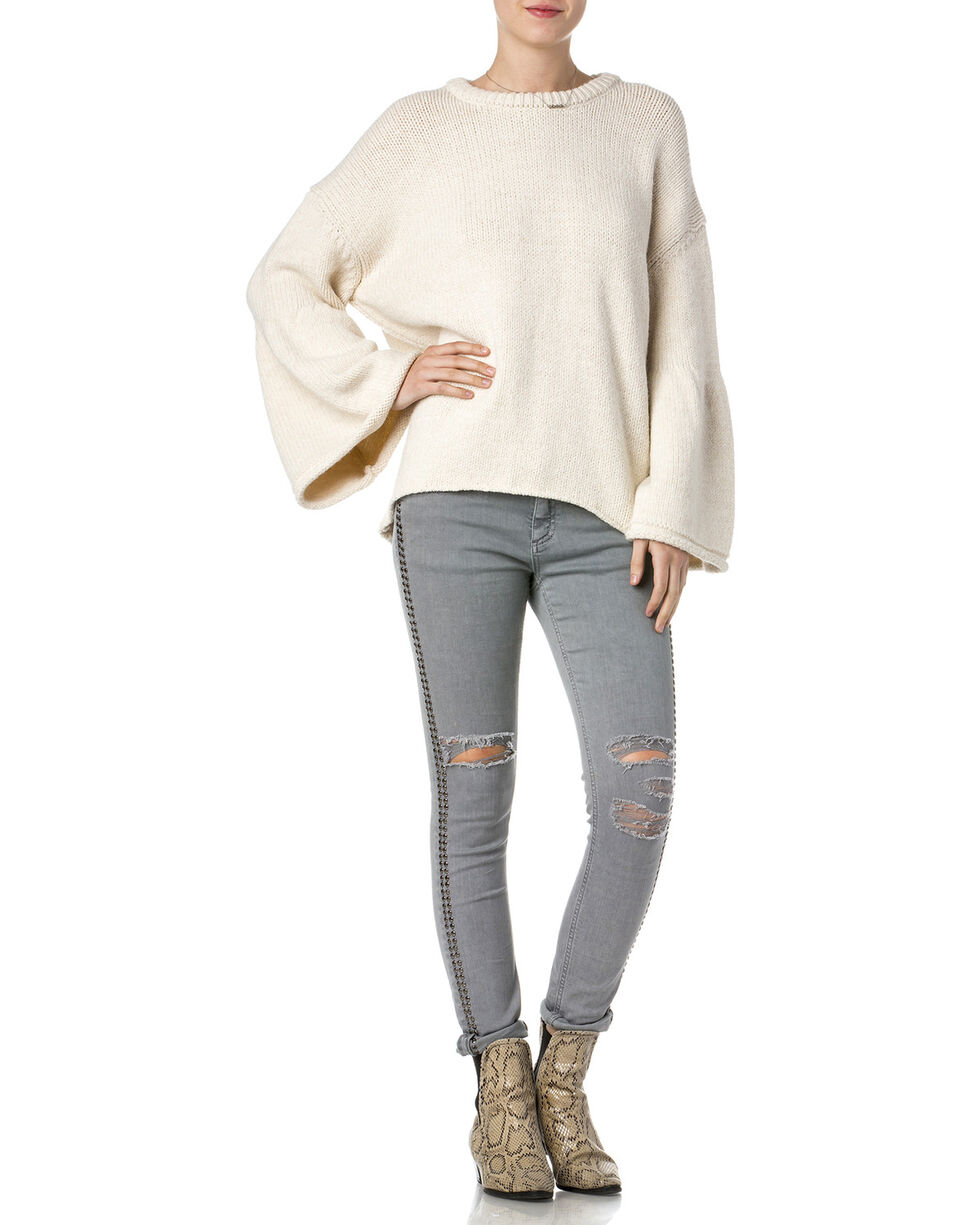 Miss Me Women's Knitted Bell Sleeve Sweater, Beige/khaki, hi-res