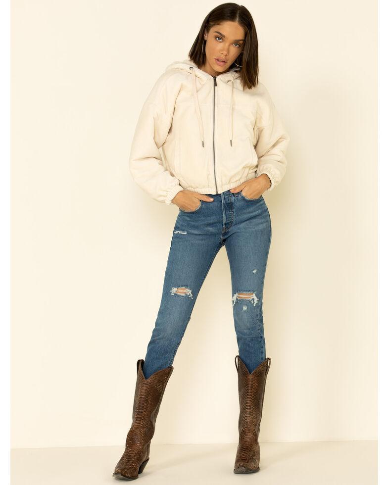 Z Supply Women's Bone Corduroy Bomber Hooded Jacket , Cream, hi-res