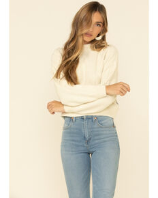 Wrangler Modern Women's White Cable Knit Boxy Sweater , White, hi-res