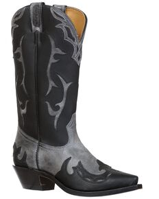 Boulet Women's Wing Tip Western Boots-Snip Toe, Black, hi-res