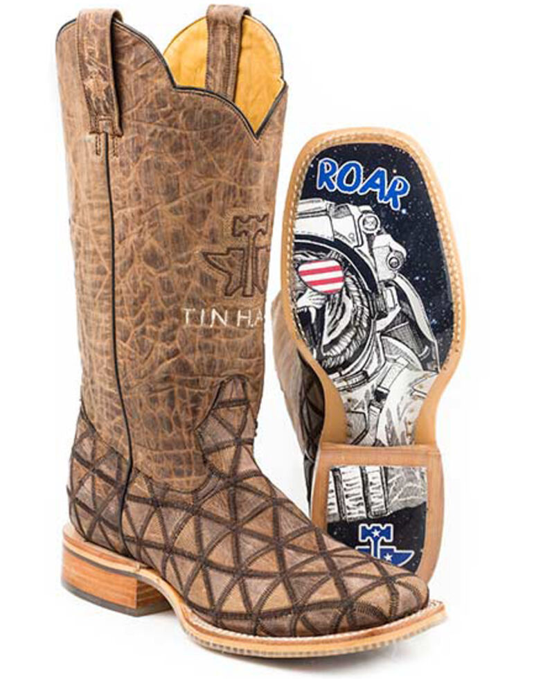 Tin Haul Men's Hanky Panky Western Boots - Wide Square Toe, Brown, hi-res