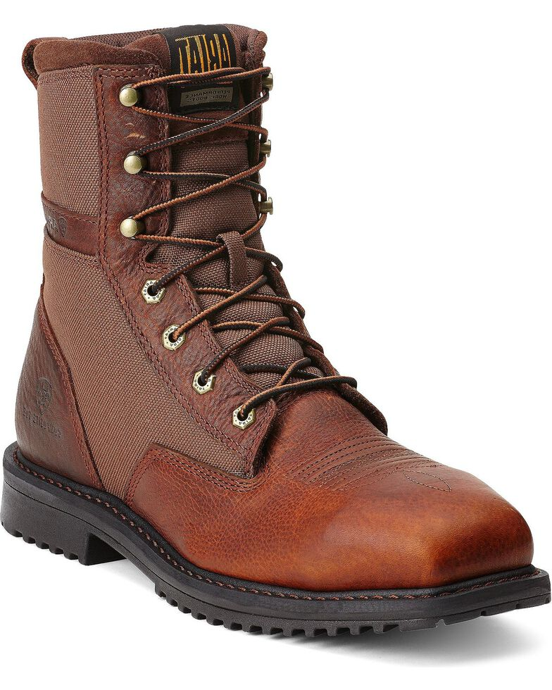 "Ariat RigTek 8"" Lace-Up Work Boots - Steel Toe, Brown, hi-res"