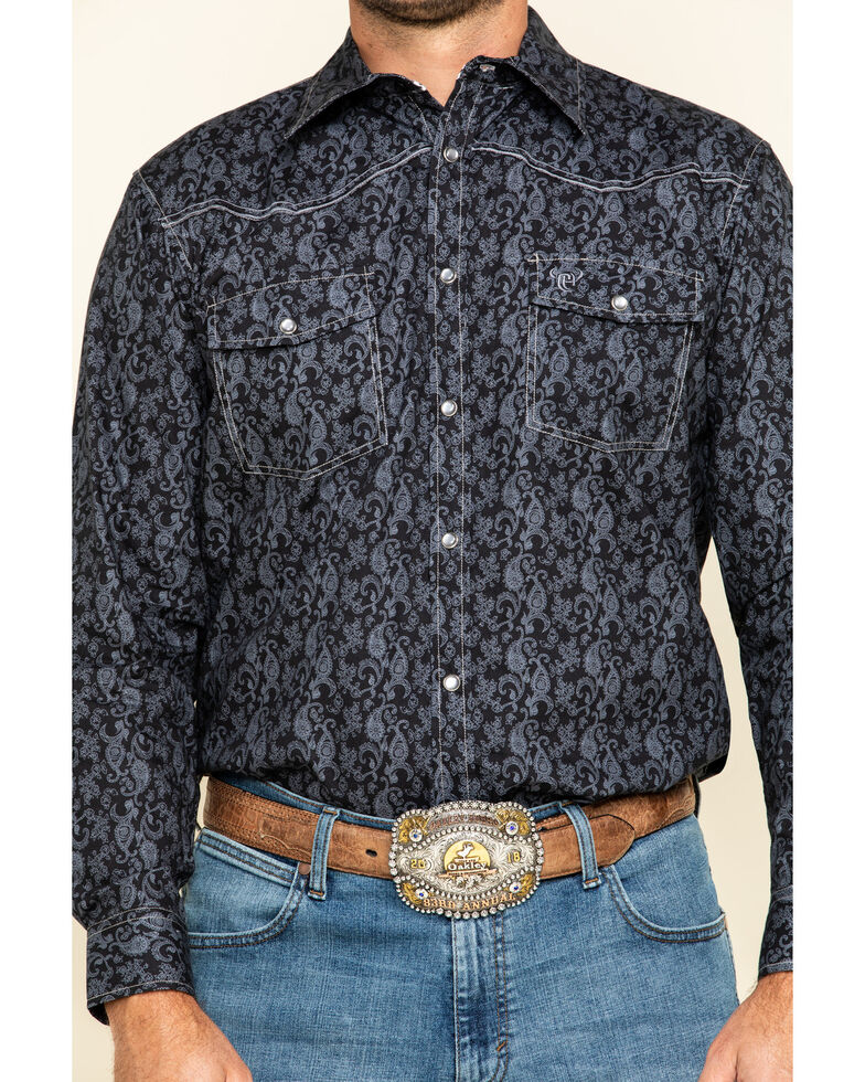 Cowboy Hardware Men's Black Tonal Paisley Print Long Sleeve Western Shirt , Black, hi-res