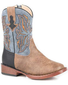 Roper Toddler Boys' Dalton Western Boots - Square Toe, Tan, hi-res