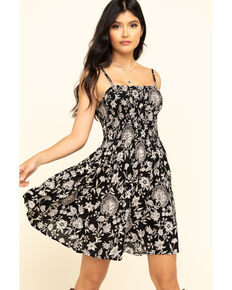 Angie Women's Black Floral Smocked Bodice Sundress, Black, hi-res