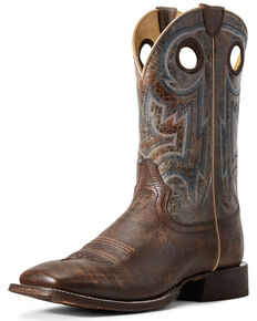 Ariat Men's Circuit Pro Western Boots - Wide Square Toe, Brown, hi-res