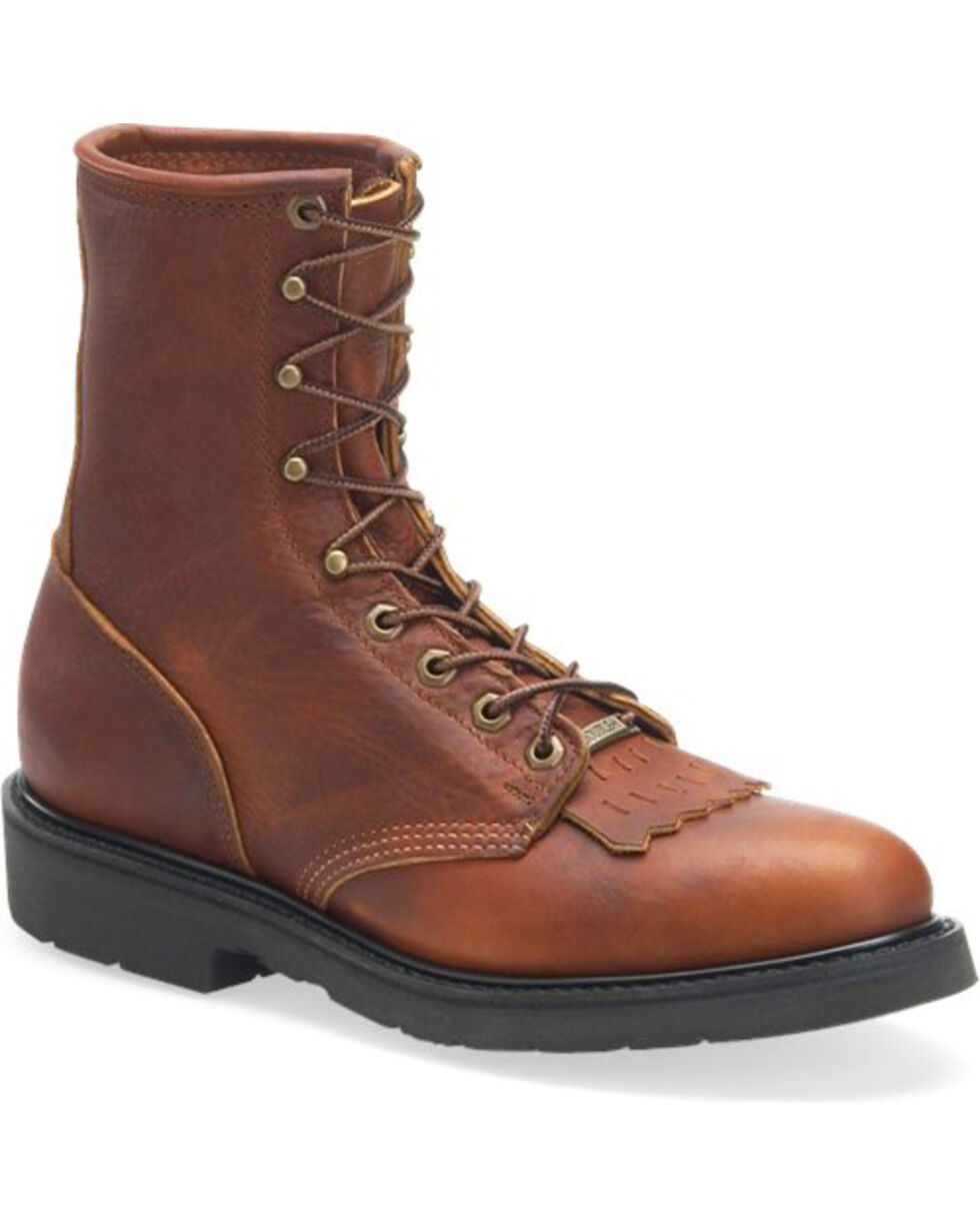 """Double-H Men's 8"""" Lacer Work Boots - Round Toe , Brown, hi-res"""