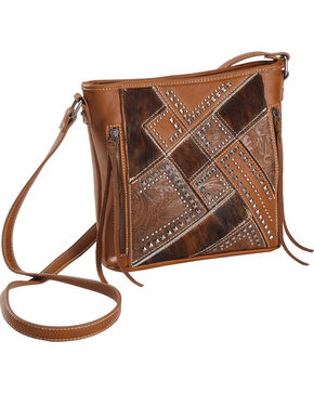 Shyanne Women's Tooled Hair-On Calf Patchwork Crossbody Bag, Brown, hi-res
