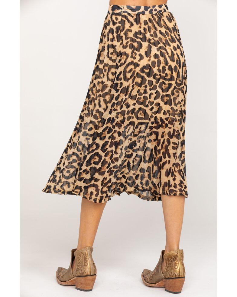 Flying Tomato Women's Leopard Pleated Midi Skirt, Leopard, hi-res