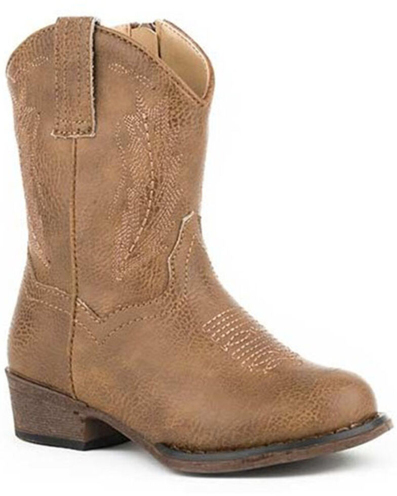 Roper Toddler Girls' Taylor Western Boots - Square Toe, Tan, hi-res