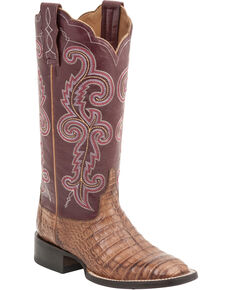 Lucchese Handmade 1883 Women's Annalyn Ultra Caiman Belly Boots - Square Toe, Tan, hi-res