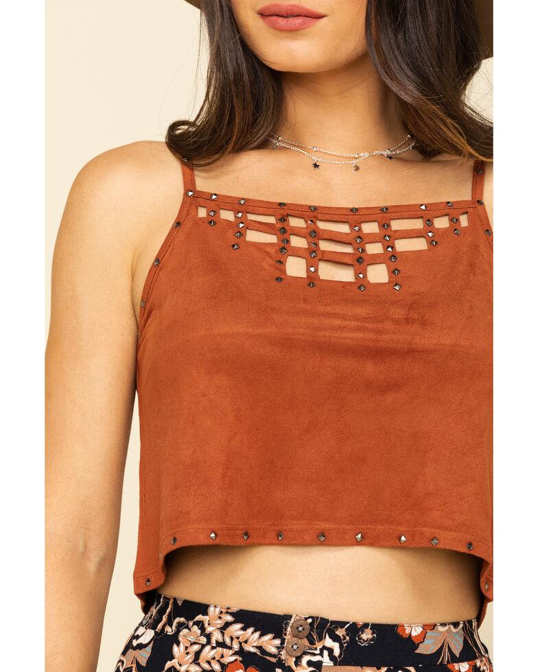 Shyanne Women's Faux Suede Studded Crop Cami , Rust Copper, hi-res