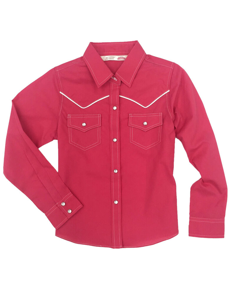 Cumberland Outfitters Girls' Pink Piped Long Sleeve Western Shirt, Pink, hi-res