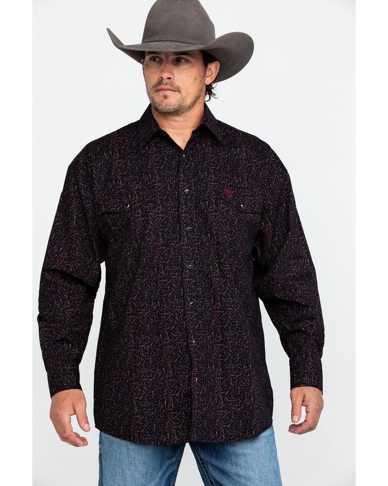 Panhandle Select Men's Fun Poplin Print Long Sleeve Western Shirt , Brown, hi-res
