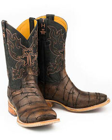 Tin Haul Men's Keep Out Western Boots - Wide Square Toe, Black, hi-res