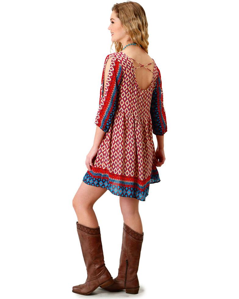 Roper Women's Multi Border Print Peasant Dress, Multi, hi-res