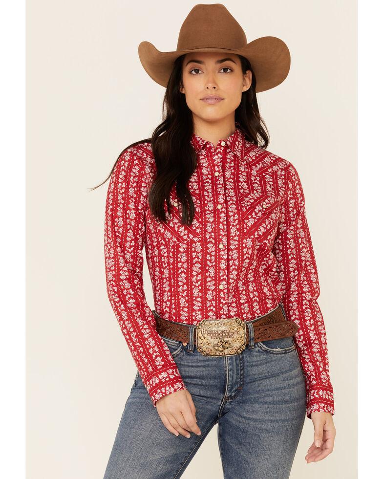 Wrangler Women's Red Floral Stripe Long Sleeve Snap Western Shirt , Red, hi-res
