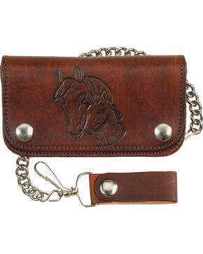 """Western Express Men's 6"""" Leather Biker Horse Wallet , Brown, hi-res"""