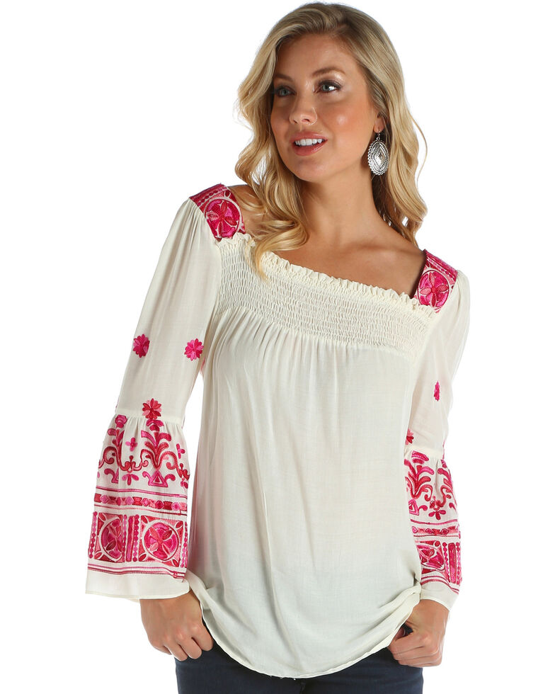898ebad59a4595 Zoomed Image Wrangler Women's Ivory Embroidered Peasant Top , Ivory, hi-res