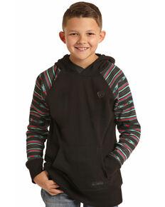 Rock & Roll Denim Boys' Black Aztec Print Hooded Sweatshirt , Black, hi-res