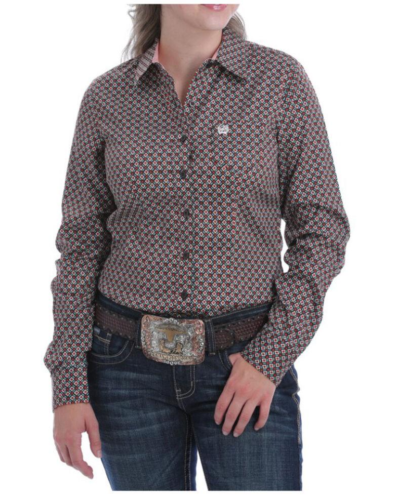 Cinch Women's Print Pattern Long Sleeve Western Shirt, Brown, hi-res
