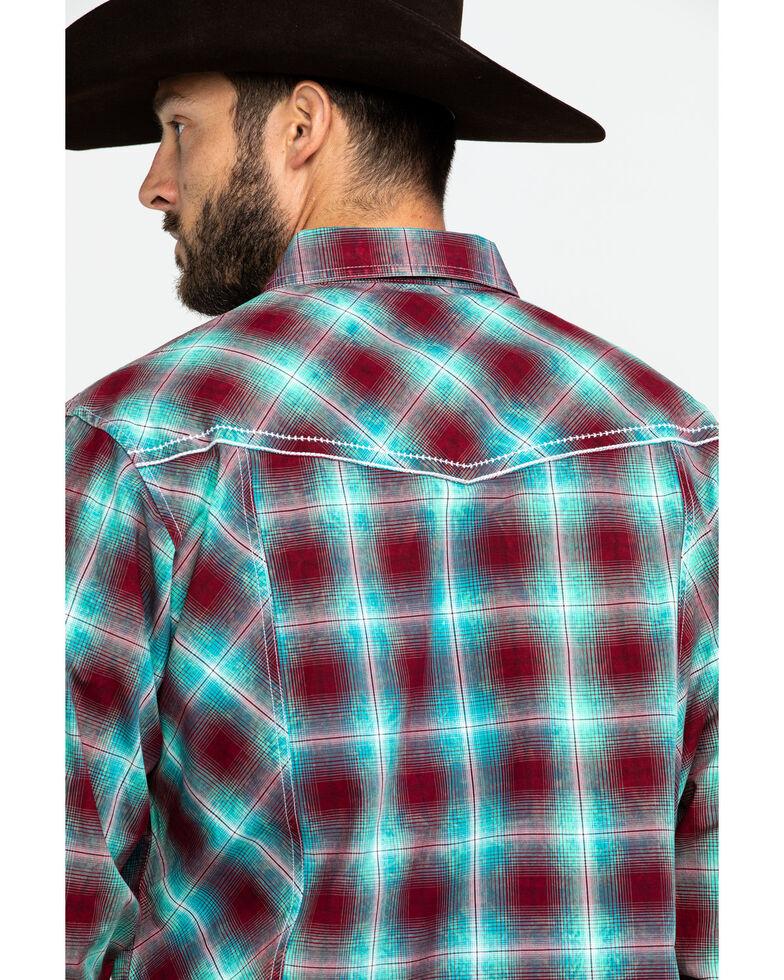 Rock 47 By Wrangler Men's Med Plaid Long Sleeve Western Shirt , Burgundy, hi-res