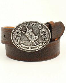 Ariat Boys' Rodeo Champion Western Belt, Brown, hi-res