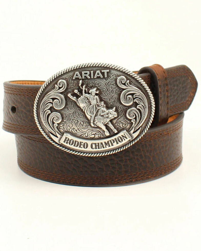 Ariat Boys' Rodeo Champion Western Belt, Brown, hi-res