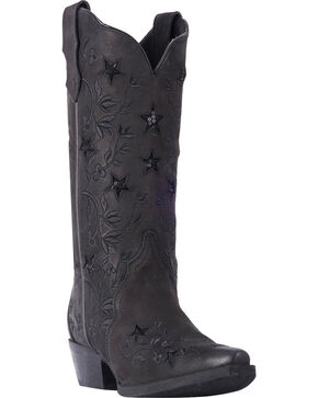 Laredo Women's Black Gunpowder Cowgirl Boots - Snip Toe , Black, hi-res