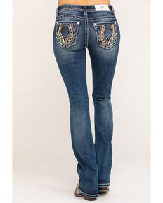 "Miss Me Women's 34"" Medium Horseshoe Wing Bootcut Jeans, Blue, hi-res"