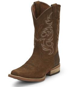 Justin Men's Cowman Acorn Western Boots - Wide Square Toe, Brown, hi-res