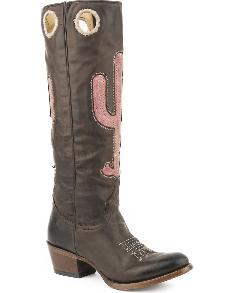 Stetson Women's Brown Taylor Embroidered Boots - Round Toe , Brown, hi-res
