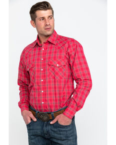 Resistol Men's Connemara Med Plaid Long Sleeve Western Shirt , Pink, hi-res