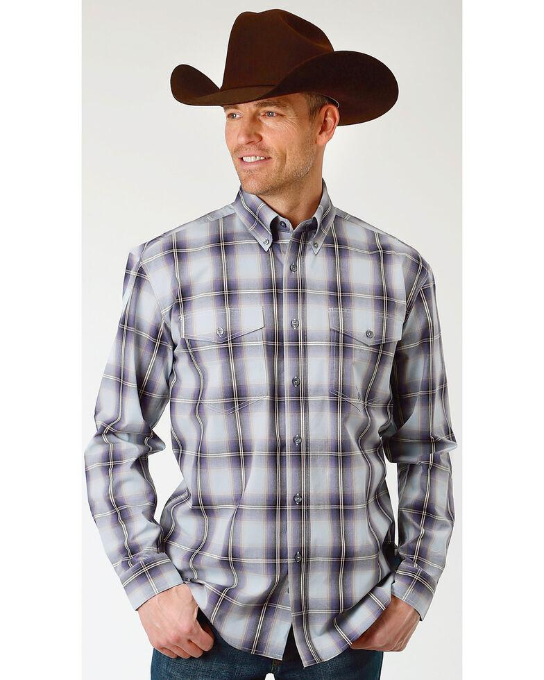 Roper Men's Winter Plum Plaid Long Sleeve Western Shirt, Blue, hi-res