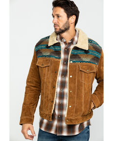 Scully Men's Cafe Brown Boar Suede Jean Jacket - Big , Brown, hi-res
