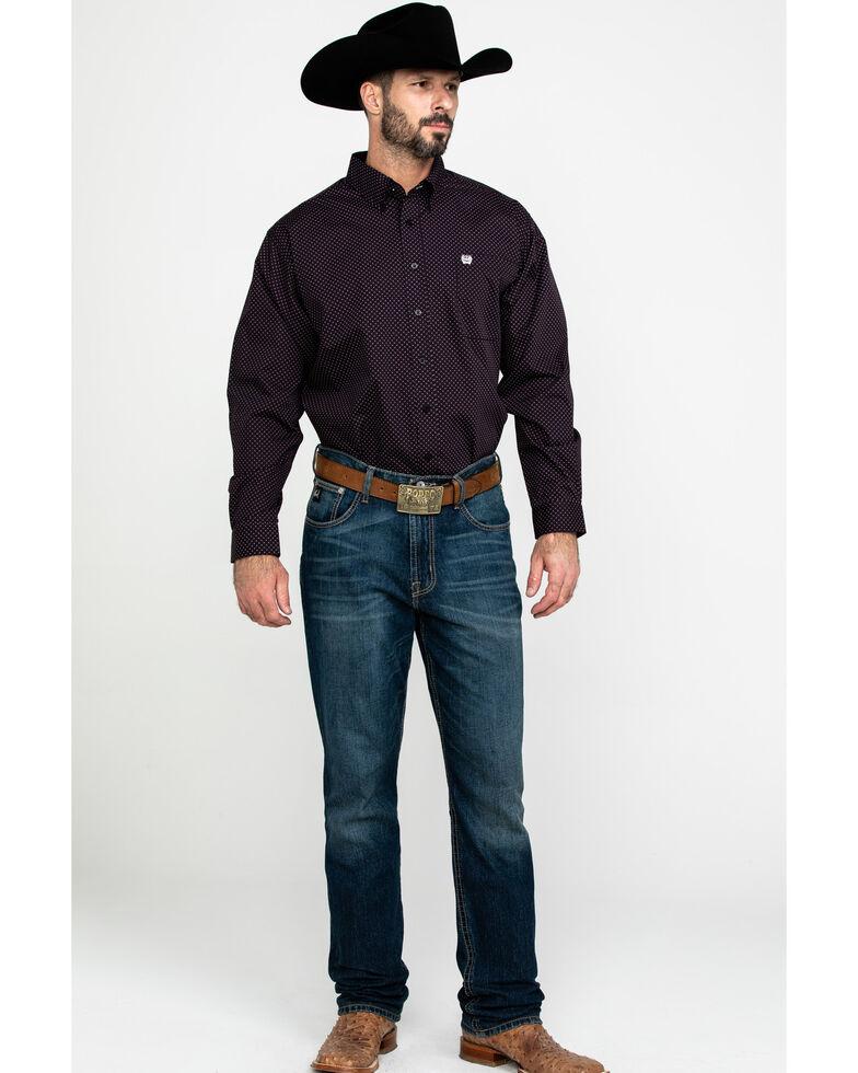 Cinch Men's Black Dot Diamond Geo Print Long Sleeve Western Shirt , Black, hi-res