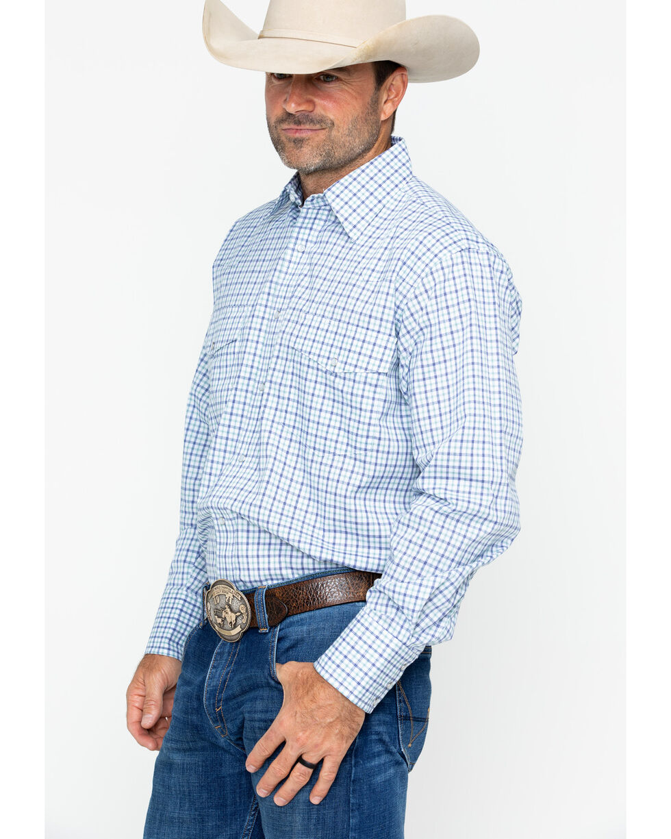 Wrangler Men's Wrinkle Resist Plaid Long Sleeve Shirt , Blue, hi-res