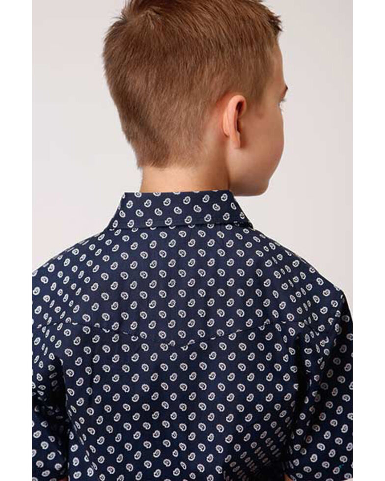 Amarillo Boys' Sweet Water Navy Geo Print Short Sleeve Western Shirt , Navy, hi-res