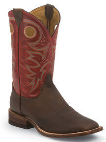 Justin Bent Rail Rough Rider Tobacco Cowboy Boots - Square Toe, Brown, hi-res